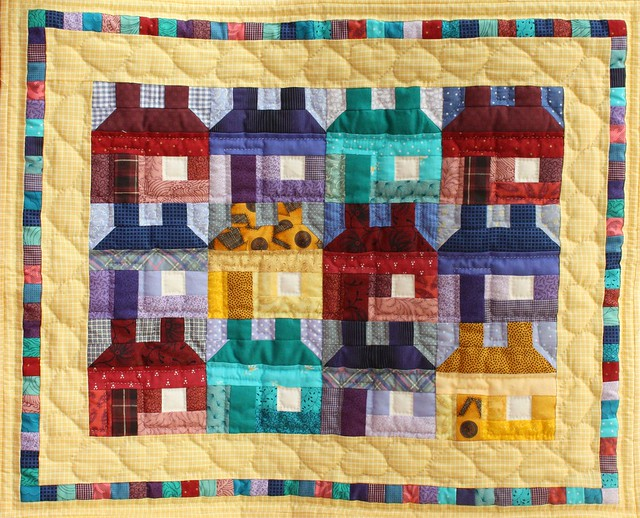 Little houses patchwork quilt
