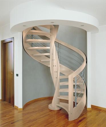 Scala a chiocciola in legno e acciaio inox per interni mod - Cancelletti per scale a chiocciola ...