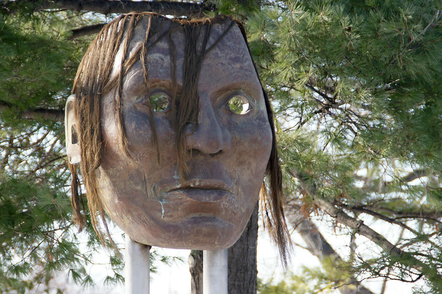 Sioux Chief Little Crow Sculpture Mask in Minnehaha Falls Park