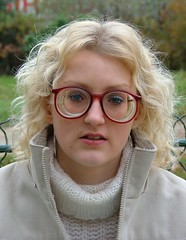 Laet - sexy blonde girl wearing big strong glasses