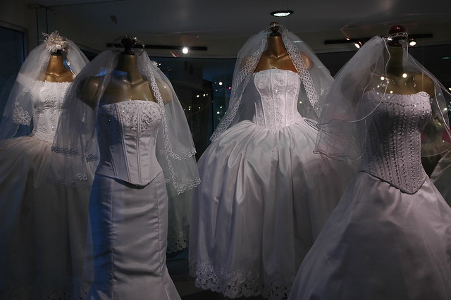 White Wedding Dresses And Veils, On Display, Original Desi