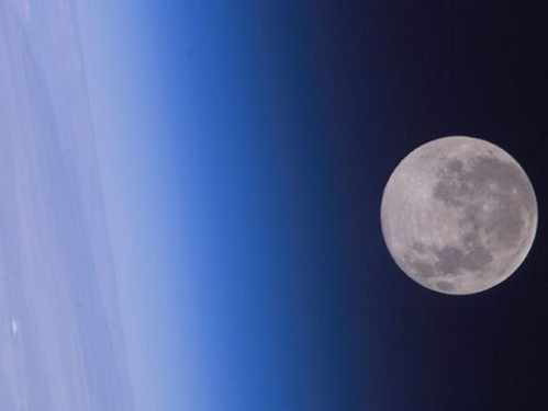 Beautiful Earth and Moon (NASA, Moon, 6/18/09)