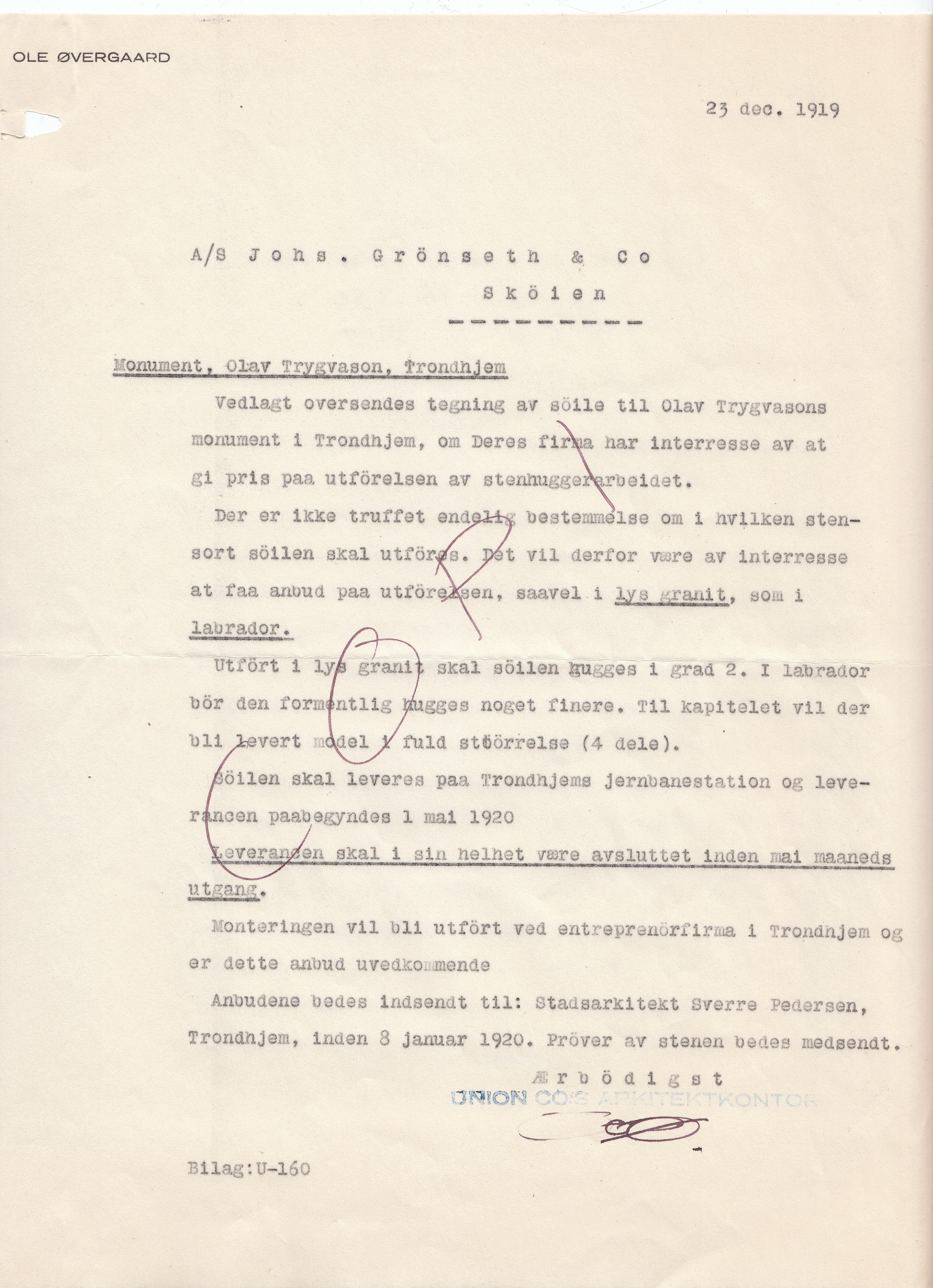 1919.12.23 - Forespørsel til firma A/S Johs. Grønseth & Co