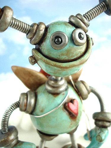 Blue Byron Cupid Robot Sculpture