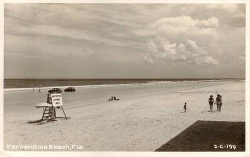 ocean cars beach florida postcard 1940s seashore fernandinabeach automobiles