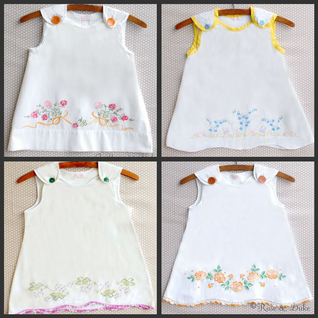 Rose duke vintage hand embroidered pillowcase dresses