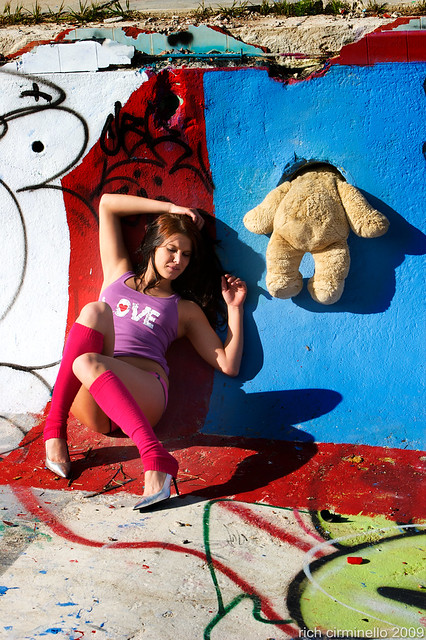 Jody - bear with head in the wall of the abandoned empty pool