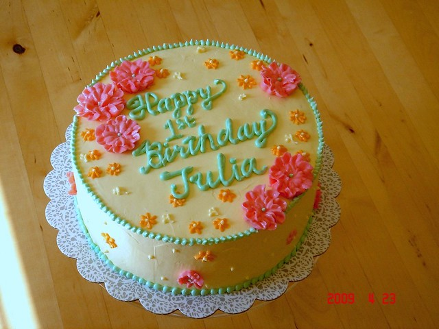 Birthday cake for 1 year old girl  Almond genoise with fres ...
