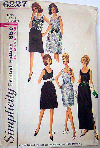 Simplicity 6227 Vintage 60's Sewing Pattern Misses Dress Slim Gathered Skirt, Overskirt and Top