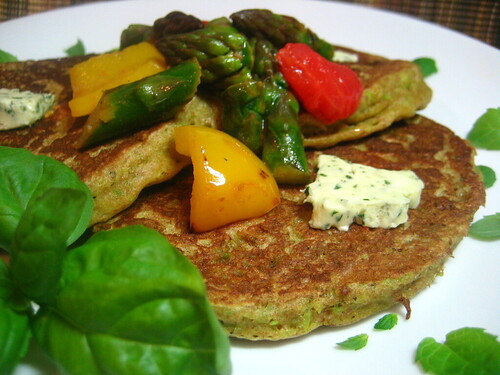 English Pea Pancakes with Colorful Vegetable Saute and Basil Butter