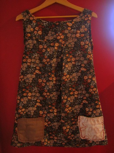 :brown floral tunic with yoke: