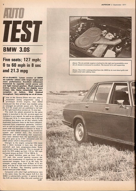 BMW 3.0 S E3 Road Test 1971 (1) | Flickr - Photo Sharing!
