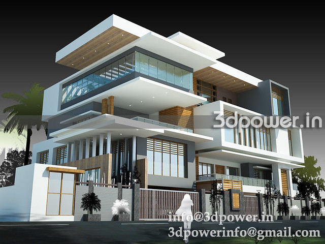 3d exteriour bungalow_www.3dpower.in_perspective of bungalow_villa_www