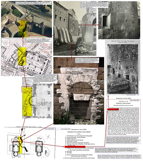 Rome, Temple of Peace, Area # A (1867-2007): The Basilica of Santi Cosma & Damiano, the Vicus ad Carinas, and the Forma Urbis Romae. Notes: R. Lanciani, Athenaeum (06/1891), &  E. Luigi Tocco, Bull. di Corr. Arch. (10/1867), pp. 177-78.