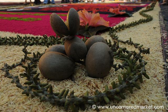 Fruit Accents on Sawdust Carpet, Semana Santa - Antigua, Guatemala