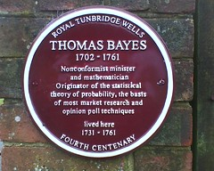 Photo of Thomas Bayes claret plaque