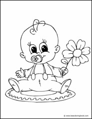 Baby with Flower - Coloring Page