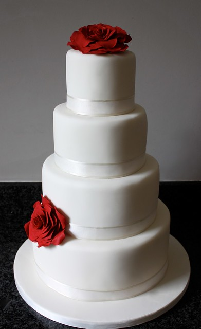 Simple Wedding Cake Dark Red