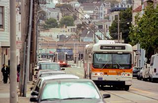 19970520 10 Muni Trolley bus & LRV  30th @ Church St.