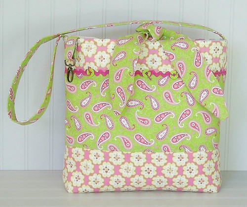 PAISLEY~Flowers~Bright PInk~Lime Green