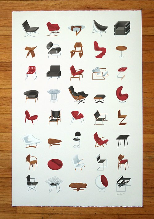 Mid century modern furniture poster by j provost the mid for Modern furniture names