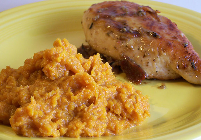 Bacon and Rosemary Chicken and Maple Mashed Sweet Potatoes | Flickr ...