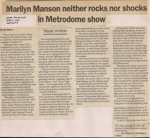 06/22/97 OzzFest @ Minneapolis, MN (Newspaper Review)