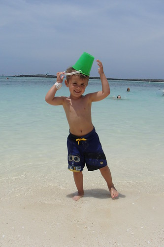 Noah playing and being silly on the Disney Castaway Cay