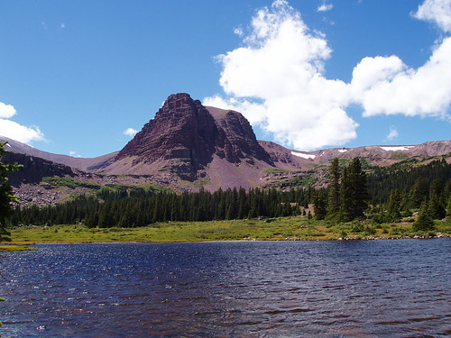 An unnamed peak over Grass Lake. The whole basin is littered with small, shallow, alpine lakes.