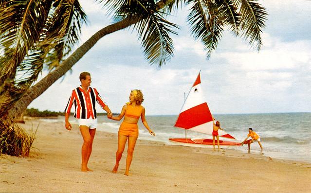 Florida beach scene postcard 1960s a photo on flickriver - The last picture show swimming pool scene ...