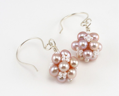 Peach Pink Clusters Beaded Earrings