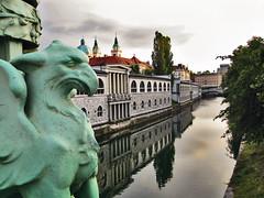 Ljubljancica River from the Dragon Bridge in Ljubljana, Slovenia