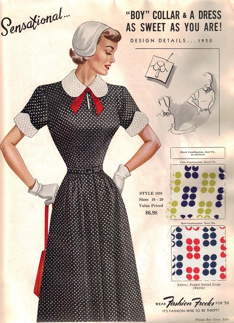 "Fashion Frocks ""Sensational... Boy Collar & A Dress as Sweet as You Are!"" 1950"