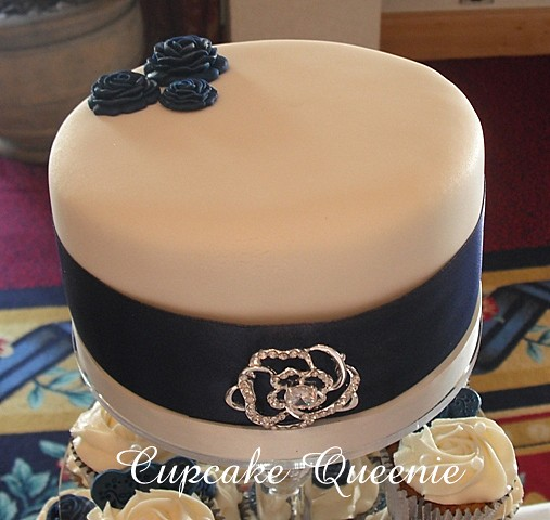 Midnight blue pale Ivory roses hearts theme Chocolate Biscuit cake with