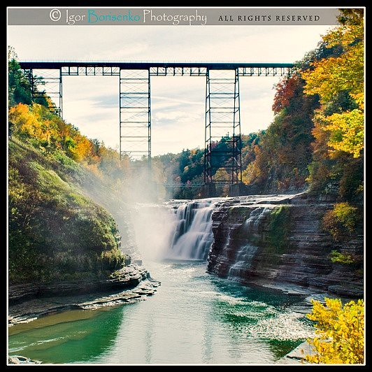 Upper falls letchworth park in autumn flickr photo - Letchworth state park swimming pool ...