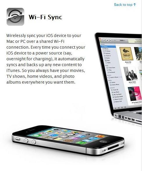 Wi-Fi Sync iOS5