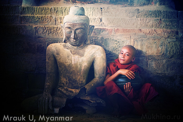 Monk in an old Mrauk-U temple
