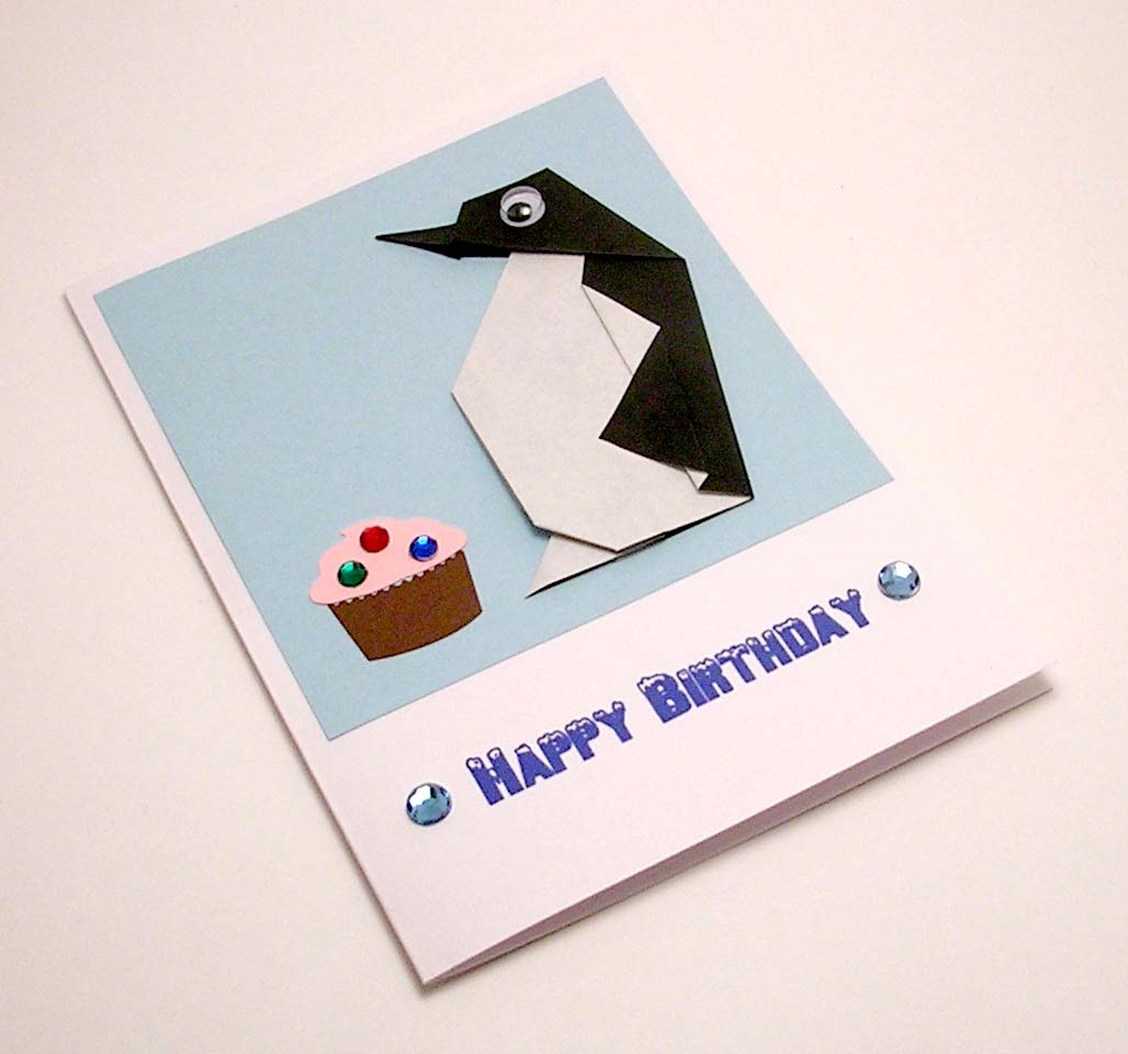Origami Penguin Birthday Card