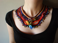 Chimerical Flowers ... Freeform Crochet Necklace