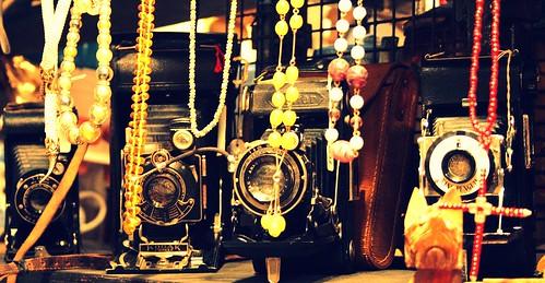 Vintage cameras - in vintage colour