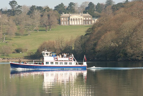 Pride of Falmouth passes Trelissick House, River Fal by Stocker Images