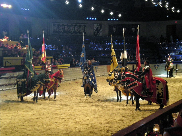 Medieval Times Dinner & Tournament Medieval Times' Noble Feast includes garlic bread, tomato bisque soup, roasted chicken, corn cob, herb-basted potatoes, pastry of the Castle, coffee and two rounds of select beverages.