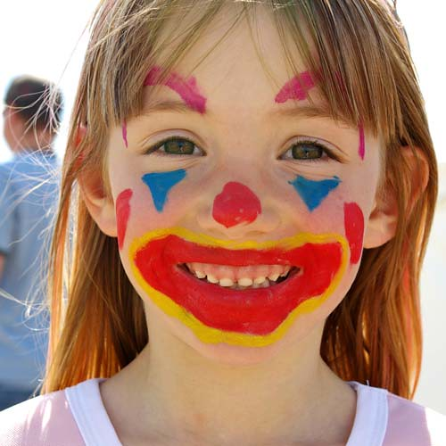 Clown face paint car interior design for Face painting clowns for birthday parties
