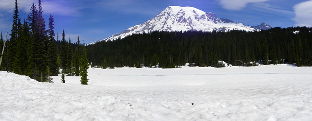 Panorama of Mt. Rainier and Reflection Lake