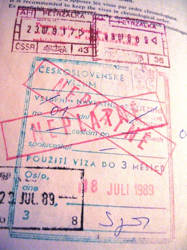 Czechoslovakia passport stamp, 1989