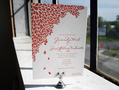 1-Color Dewdrop Letterpress Wedding Invitation