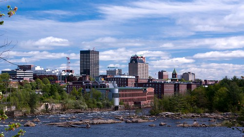 Manchester skyline along the Merrimack River