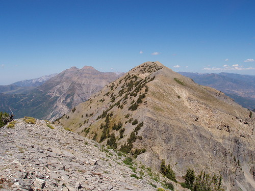 Looking north from the south summit toward the true summit of Cascade Mountain and Mount Timpanogos.