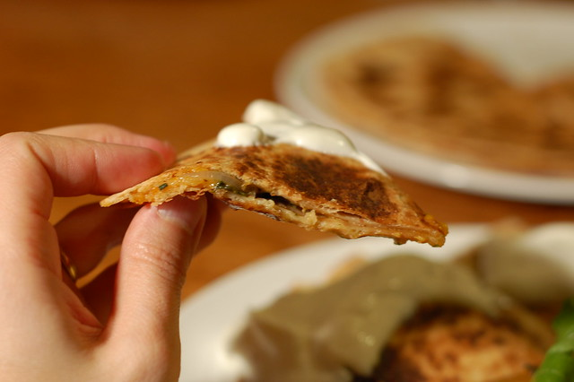 Spinach and Onion Quesadillas