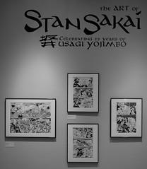 Photograph: Stan Sakai exhibit at the Cartoon Art Museum